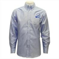 Vanguard NAVY LEAGUE MEN'S LIGHT BLUE LONG SLEEVE OXFORD SHIRT W/BLUE LOGO - 4XL