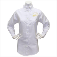 Vanguard NAVY LEAGUE WOMEN'S WHITE LONG SLEEVE OXFORD SHIRT W/GOLD LOGO MEDIUM