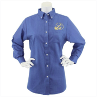 Vanguard NAVY LEAGUE WOMEN'S FRENCH BLUE LONG SLEEVE OXFORD SHIRT GOLD LOGO - M