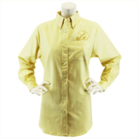 Vanguard NAVY LEAGUE WOMEN'S BUTTER LONG SLEEVE OXFORD SHIRT WITH GOLD LOGO - L