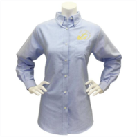 Vanguard NAVY LEAGUE WOMEN'S LIGHT BLUE LONG SLEEVE OXFORD SHIRT W/GOLD LOGO - M