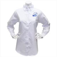Vanguard NAVY LEAGUE WOMEN'S WHITE LONG SLEEVE OXFORD SHIRT W/BLUE LOGO MEDIUM
