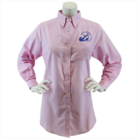 Vanguard NAVY LEAGUE WOMEN'S PINK LONG SLEEVE OXFORD SHIRT WITH BLUE LOGO LARGE