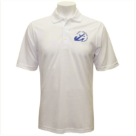 Vanguard NLCC MEN'S WHITE PERFORMANCE POLO SHIRT WITH BLUE LOGO - 4XL