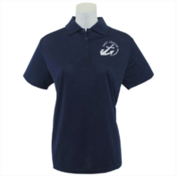 Vanguard NAVY LEAGUE WOMEN'S NAVY PERFORMANCE POLO SHIRT W/ WHITE LOGO - SMALL