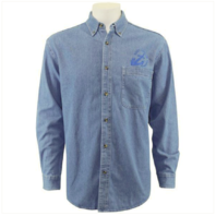 Vanguard NAVY LEAGUE MEN'S LIGHT BLUE DENIM LONG SLEEVE SHIRT W/ BLUE LOGO - M