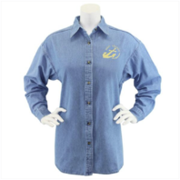 Vanguard NAVY LEAGUE WOMEN'S LIGHT BLUE DENIM LONG SLEEVE SHIRT W/GOLD LOGO - M
