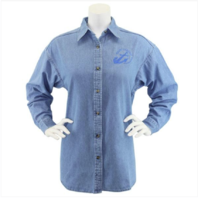 Vanguard NAVY LEAGUE WOMEN'S LIGHT BLUE DENIM LONG SLEEVE SHIRT W/BLUE LOGO - L