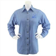 Vanguard NAVY LEAGUE WOMEN'S LIGHT BLUE DENIM LONG SLEEVE SHIRT W/BLUE LOGO 3XL