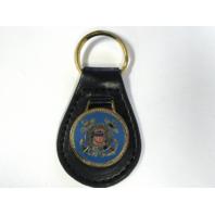 Vanguard US Coast Guard USCG Black Leather Key Fob Keychain Key Chain Ring