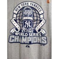 Majestic New York Yankees Gray 2009 World Series 27-Time Champions T-Shirt Sz L