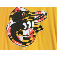 Majestic Baltimore Orioles Bird Logo Yellow Graphic T-Shirt Size L MLB Baseball