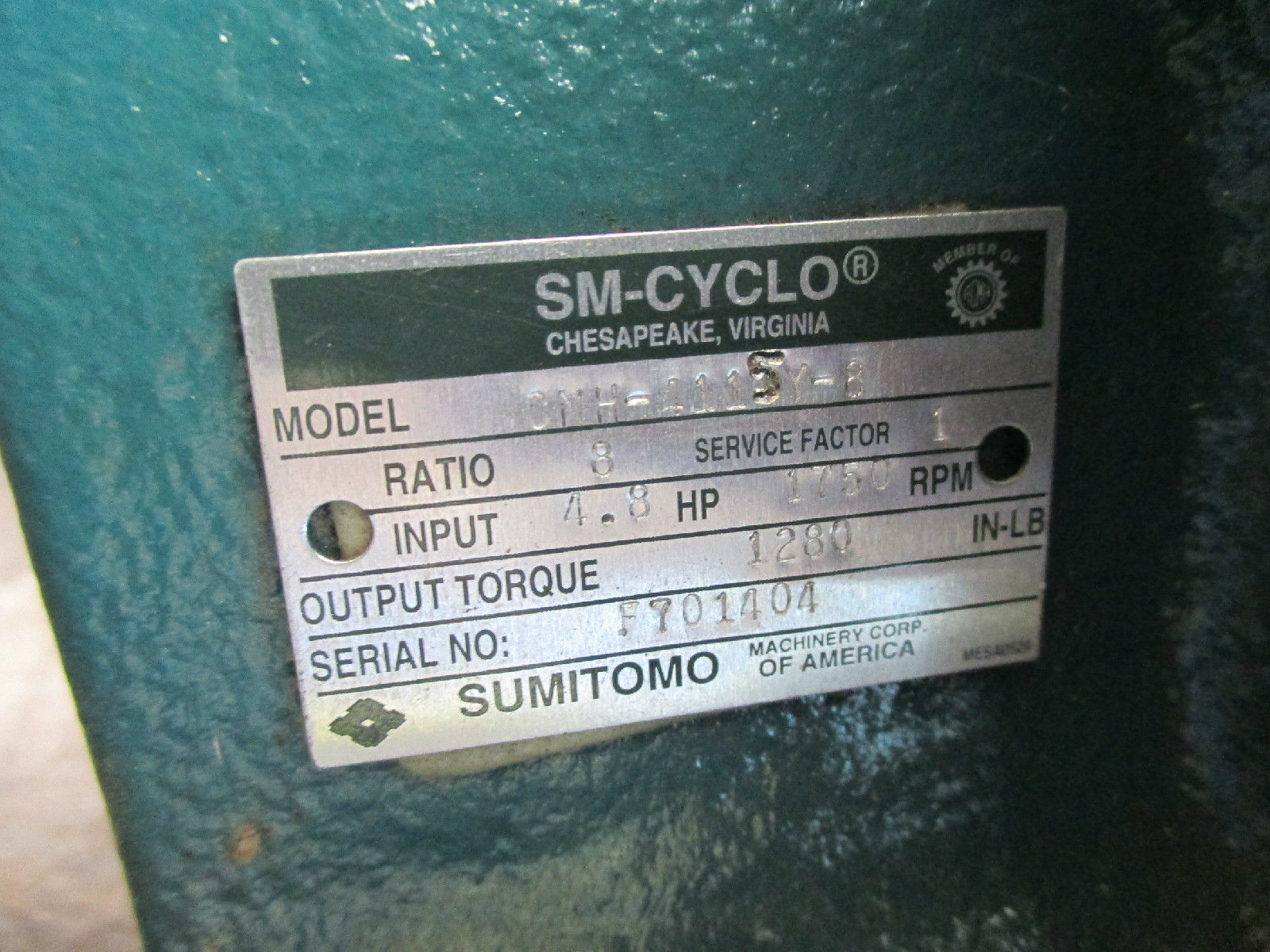 SM CYCLO SUMITOMO CNH 41154 8 SPEED REDUCER GEAR BOX MADE IN USA MOTOR