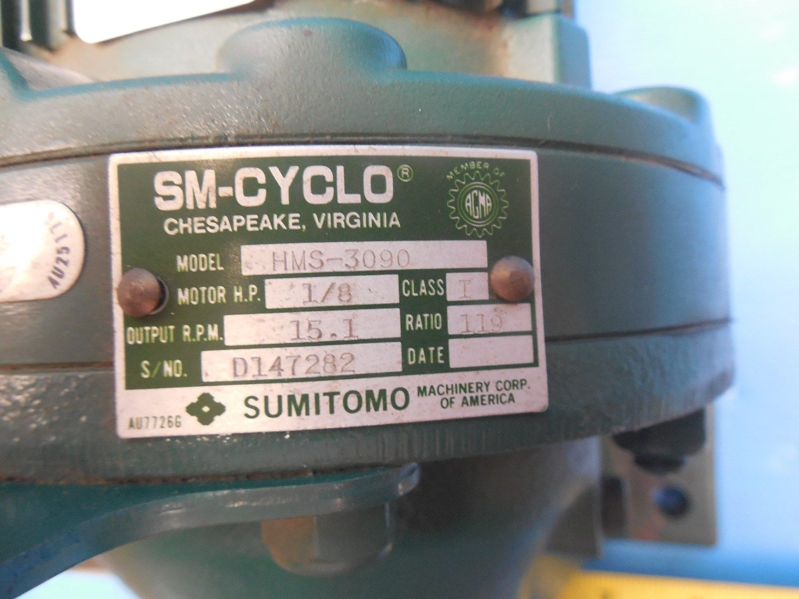 NEW SUMITOMO HMS 3090 1/8 HP 3 PHASE INDUCTION MOTOR 1730 RPM INDUSTRIAL TOOLS