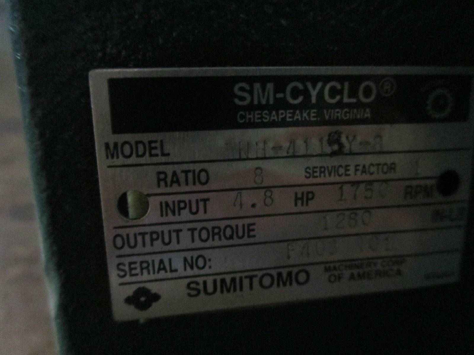 SM CYCLO SUMITOMO CNH 4115Y 3 SPEED REDUCER INDUSTRIAL MADE IN USA GEAR BOX