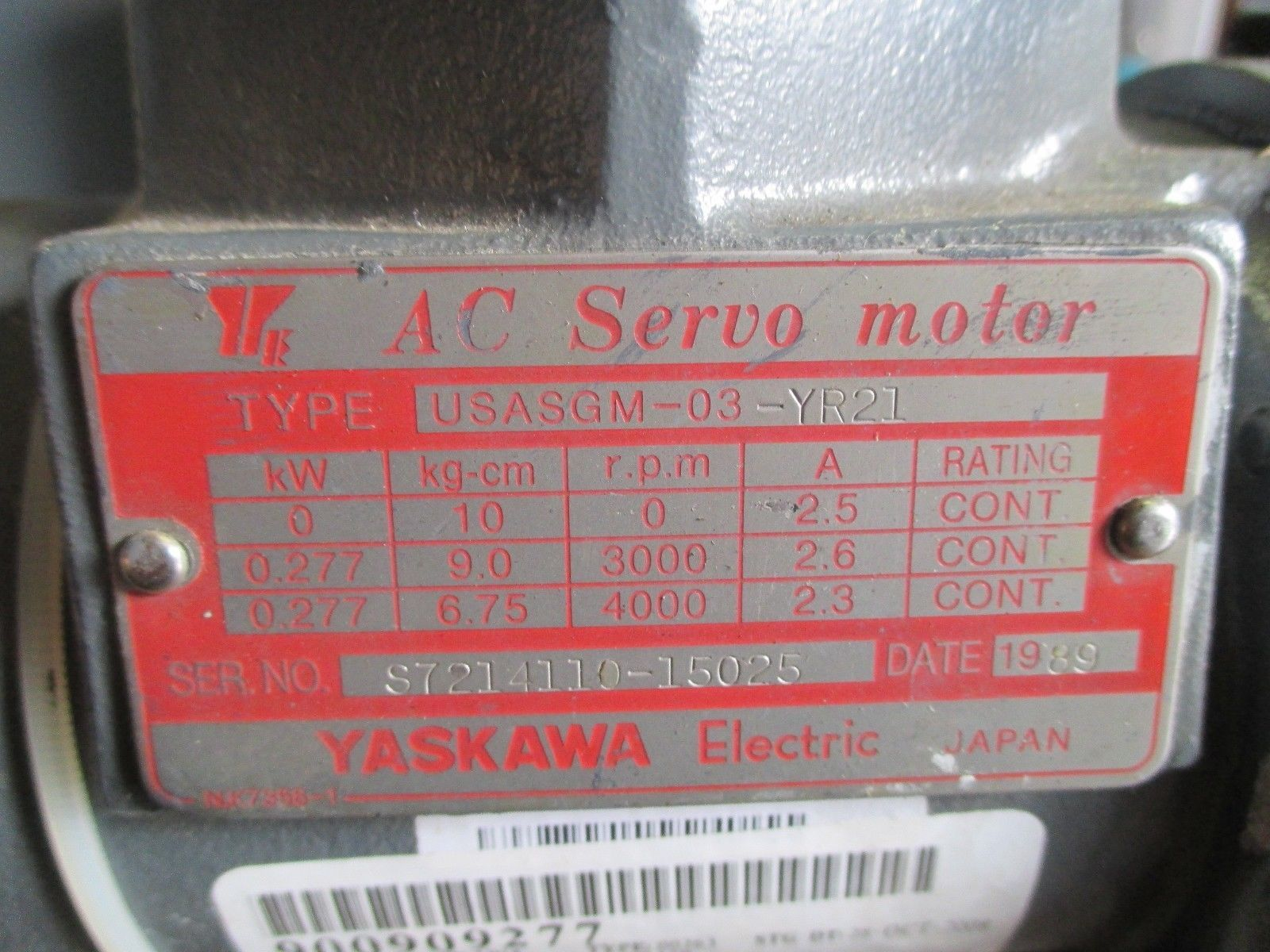 Yaskawa Usasgm 034r21 Ac Servo Motor Industrial Made In Japan Electrical Motors M J Tooling Llc