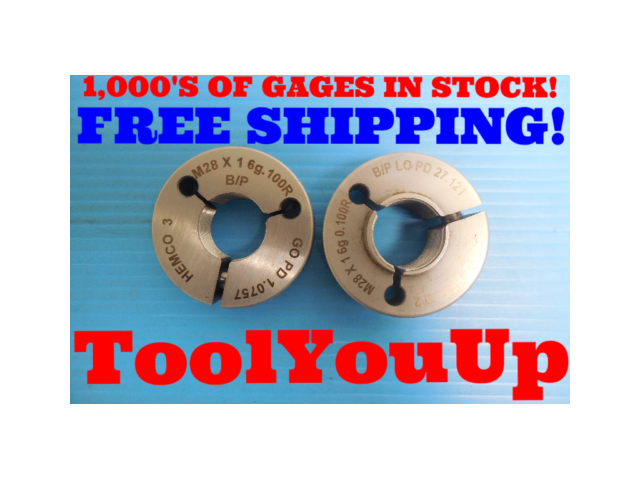 M28 X 1.0 6g 0.100R BEFORE PLATE THREAD RING GAGES 28.0 1 GO NO GO 1.0757 27.121