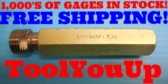 1/2  14 NPT L1 PIPE THREAD PLUG GAGE .5 N.P.T. L-1 INSPECTION MACHINIST TOOLS