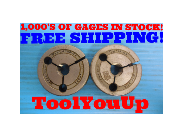 17/32 - 24 UNS 2A THREAD RING GAGES .53125 GO NO GO P.D. = .5030 & .4991 TOOLING