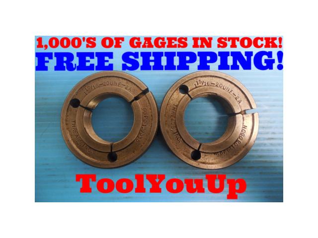 1 15/16 20 UNF 2A THREAD RING GAGES 1.9375 GO NO GO P.D. = 1.9035 & 1.8986 TOOLS