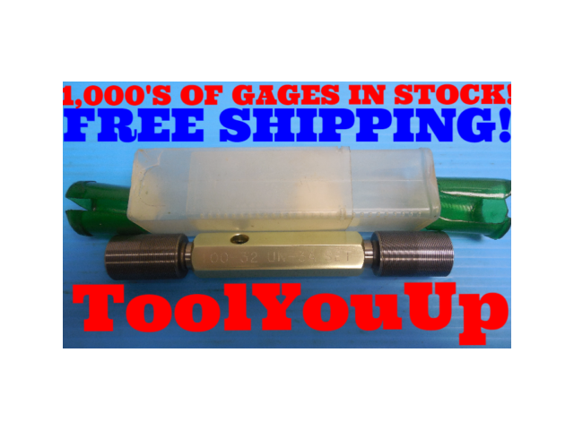 "1"" 32 UN 3A SET THREAD PLUG GAGE 1.00 GO NO GO P.D.'S = .9797 & .9769 INSPECTION"