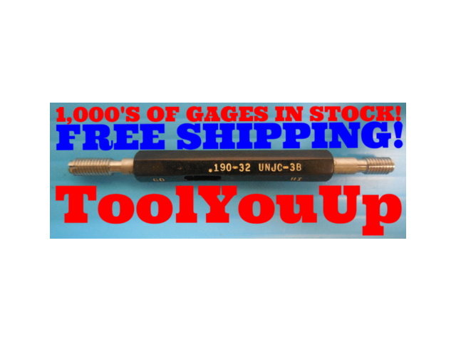 10 32 UNJC 3B THREAD PLUG GAGE #10 .190 GO NO GO P.D.'S = .1697 & .1726 TOOLING