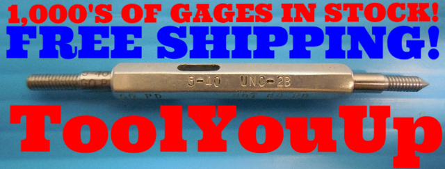 5 40 UNC 2B THREAD PLUG GAGE #5 40.0 GO NO GO P.D.'S = .1088 & .1121 INSPECTION