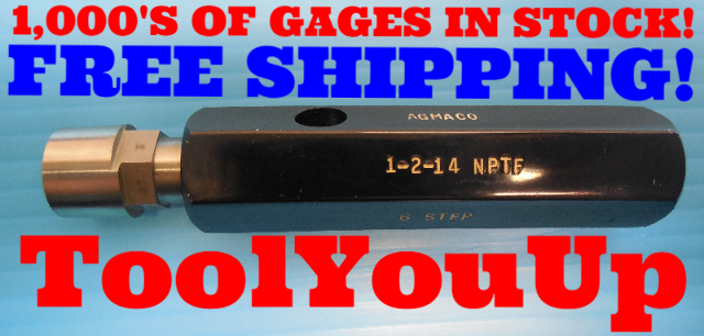 NICE 1/2 14 NPTF 6 STEP TRUNCATION CREST CHECK PIPE THREAD PLUG GAGE .5 N.P.T.F.