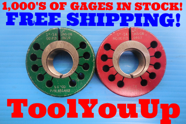 """1"""" 14 UNS 2A LEFT HAND THREAD RING GAGE 1.00 GO NO GO P.D.'S = .9519 & .9463"""