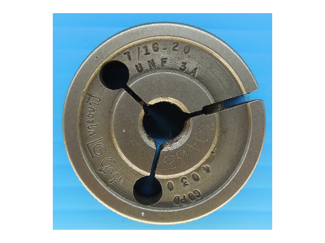 7/16 20 UNF 3A PREPLATE THREAD RING GAGE .4375 GO ONLY P.D. = 4030 QUALITY TOOLS