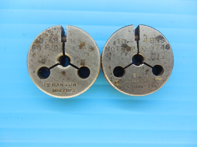 10 48 NS THREAD RING GAGES #10 48.0 GO NO GO P.D.'S = .1765 & .1746 INSPECTION