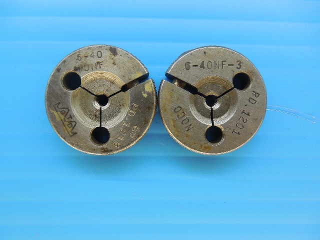 6 - 40 NF 3 THREAD RING GAGES #6 40.0 GO NO GO P.D.'S = .1218 & .1201 INSPECTION