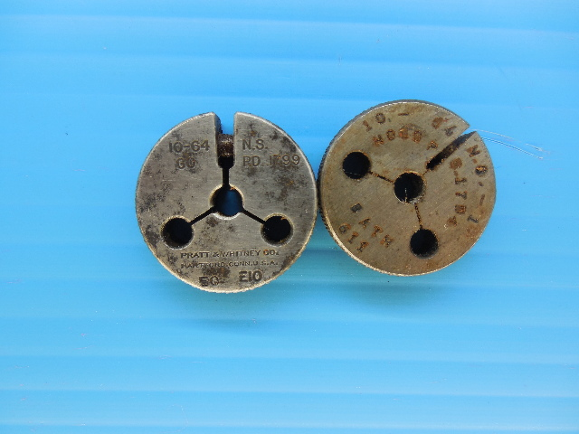 10 64 NS 1 THREAD RING GAGES #10 64.0 GO NO GO P.D.'S = .1799 & .1754 INSPECTION