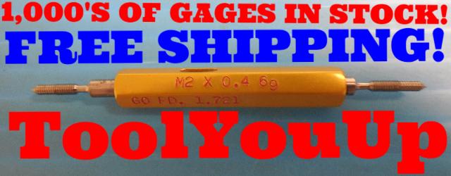 M2 X 0.4 6g METRIC SET THREAD PLUG GAGE GO NO GO 2.0 .4 P.D.'S= 1.721 & 1.654 mm