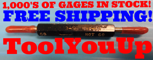 3 56 UNF 2A SET THREAD PLUG GAGE GO NO GO #3 P.D.'S= .0867 & .0845 INSPECTION