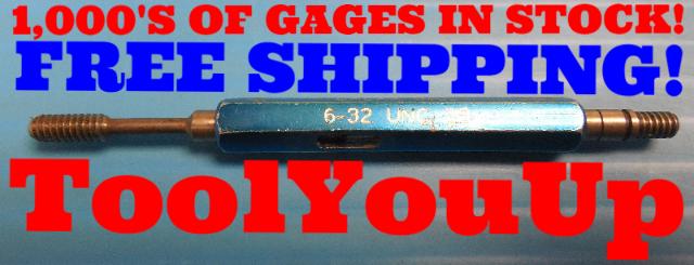 6 32 UNC 2B THREAD PLUG GAGE #6 .138 GO NO GO P.D.'S = .1177 & .1214 INSPECTION