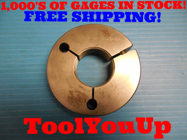 1 37/64 14 UNJS 3A THREAD RING GAGE 1.578125 NO GO ONLY P.D. = 1.5276 INSPECTION