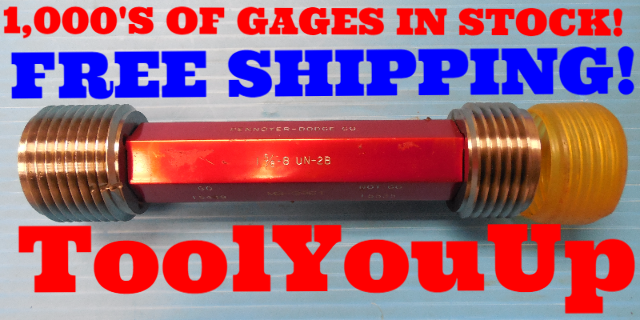 1 5/8 8 UN 2B THREAD PLUG GAGE 1.62500 GO NO GO P.D.'S = 1.5438 & 1.5535 TOOLING