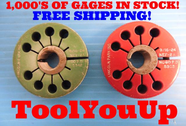 9/16 24 NEF 2A THREAD RING GAGES .5625 GO NO GO  P.D.'S= .5342 & .5303 USA MADE