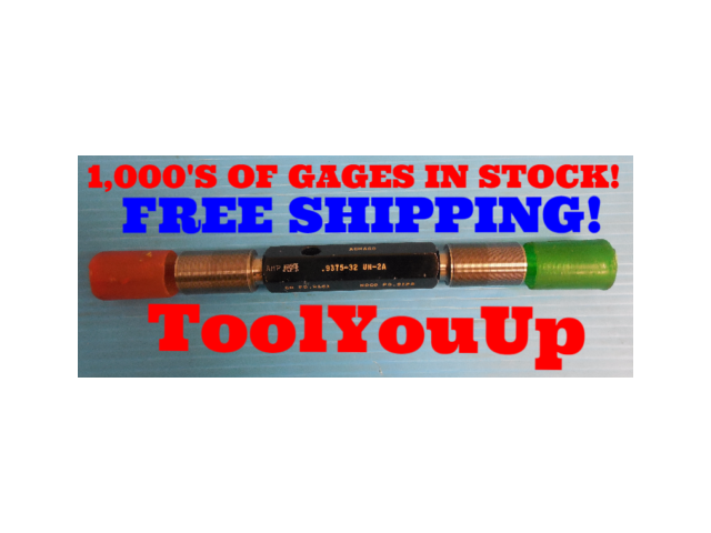 15/16  32 UN 2A SET THREAD PLUG GAGE GO NO GO .9375 P.D.'S= .9161 & .9123 TOOL