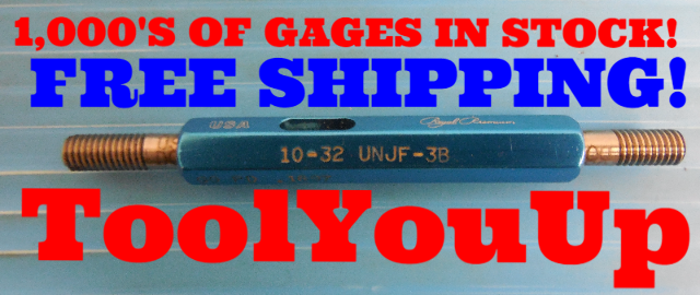 10 32 UNJF 3B THREAD PLUG GAGE #10 32.0 GO NO GO P.D.'S = .1697 & .1726 TOOLING
