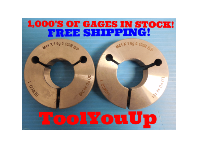 M41 X 1 6g 0.100R BEFORE PLATE THREAD RING GAGES 41.0 1.0 GO NO GO 40.209 40.121