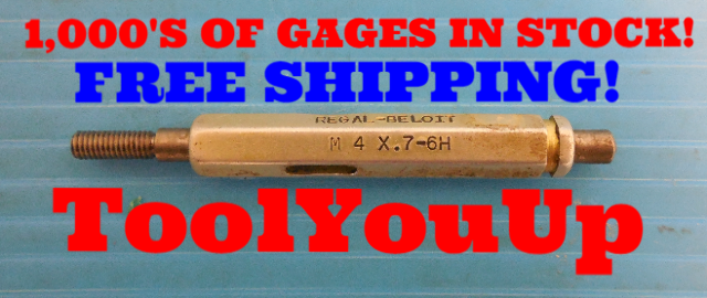 M4 X .7 6H METRIC THREAD PLUG GAGE 4.0 0.7 GO ONLY P.D. = .1396 / 3.545mm TOOL