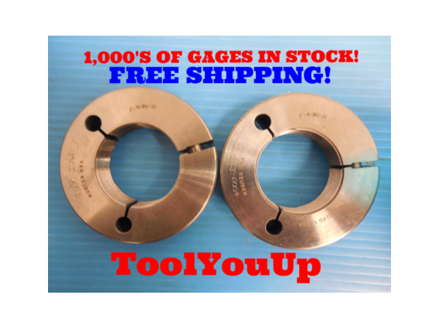"2"" 16 UNJ 3A THREAD RING GAGES 2.00 GO NO GO P.D.'S = 1.9594 & 1.9554 MACHINIST"