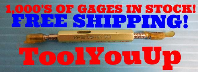 10 32 UNF 2A SET THREAD PLUG GAGE 10.0 GO NO GO P.D. .1688 & .1658 QUALITY TOOL