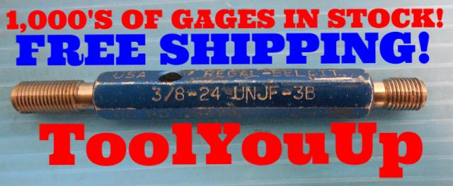 3/8 24 UNJF 3B THREAD PLUG GAGE .3750 GO NO GO P.D.'S = .3479 & .3516 QUALITY