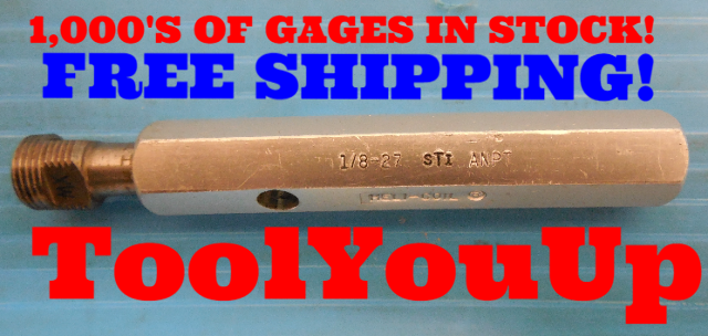 1/8 27 ANTP L1 STI HELICOIL PIPE THREAD PLUG GAGE .125 A.N.P.T. L-1 QUALITY TOOL