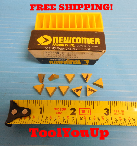 10 PCS NEW NEWCOMER TPG 221 A NN60 CARBIDE INSERTS TIN COATED MILLING TURNING