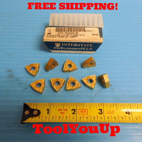 9 PCS NEW INTERSTATE WNMG 432 B ICP 55 CARBIDE INSERTS TIN COATED MILLING
