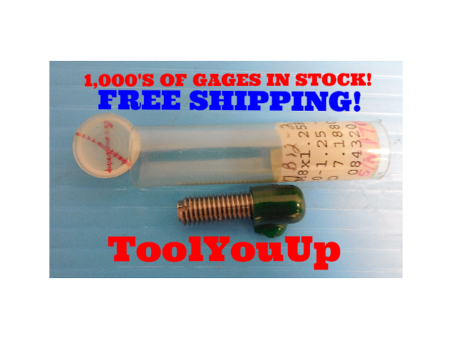 M8 X 1.25 6H METRIC THREAD PLUG GAGE 8.0 1.250 GO ONLY 7.188 REVERSIBLE STYLE